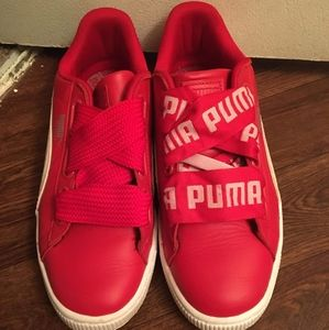 Puma Red and White Sneakers